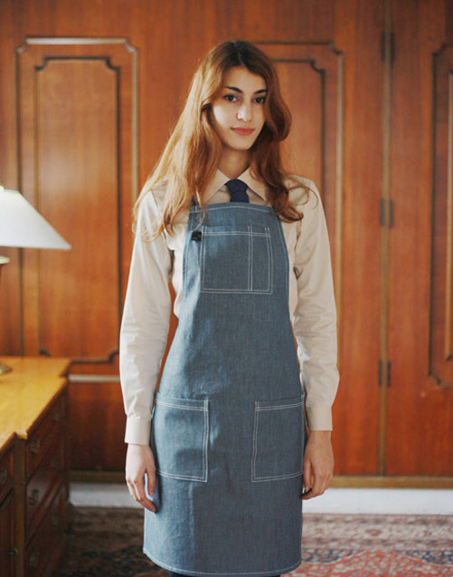 #AA1404 Basic Denim Apron Medium blue