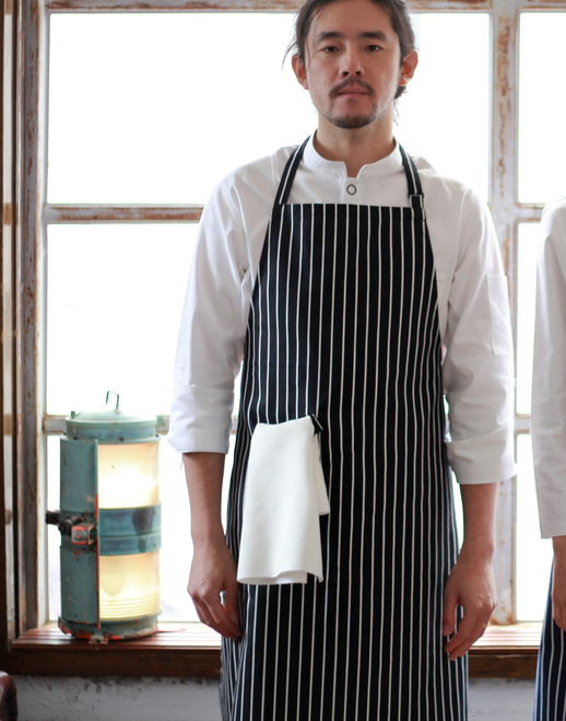 #AA1410 Stripe chest Apron Black