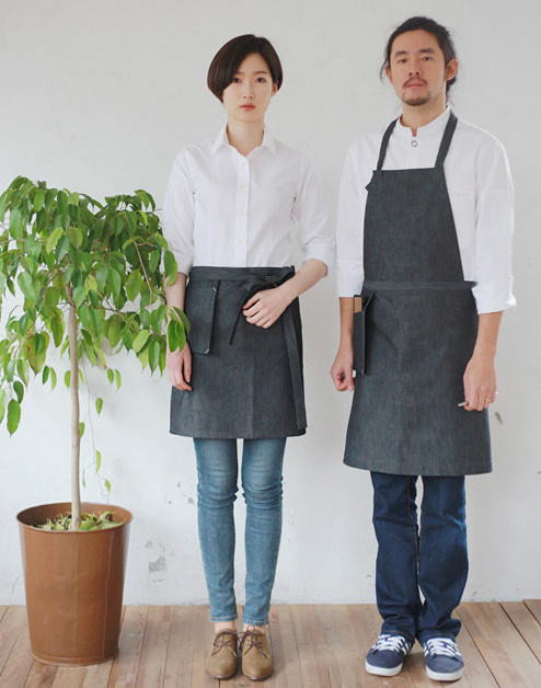 #AA1407 Stone denim chest Apron Grey