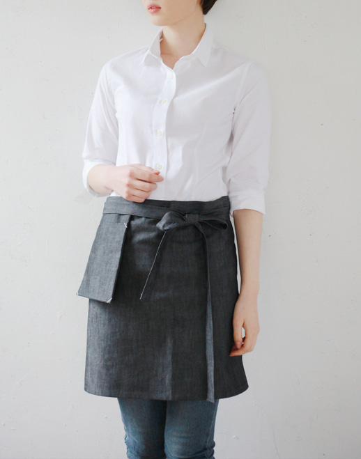 #AA1406 Stone denim waist Apron Grey