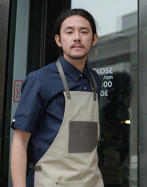 #AA1513 Canvas leather string Apron Grey