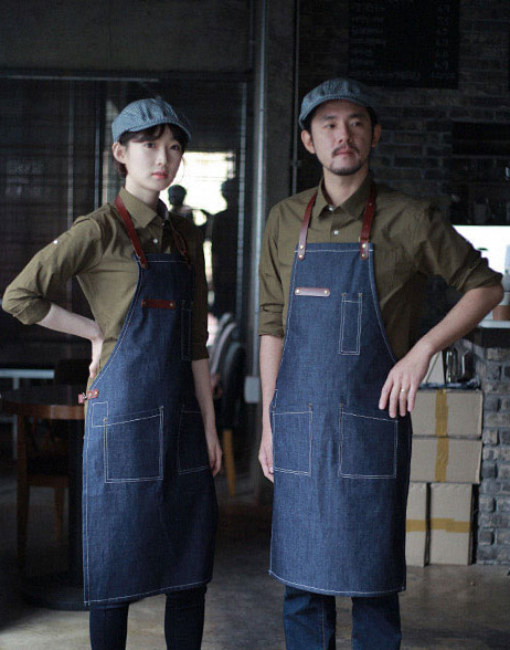 #AA1511 Denim real cow leather Apron