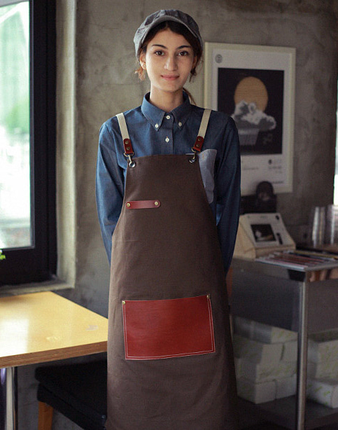 #AA1517 Roco real cow leather Apron dark brown