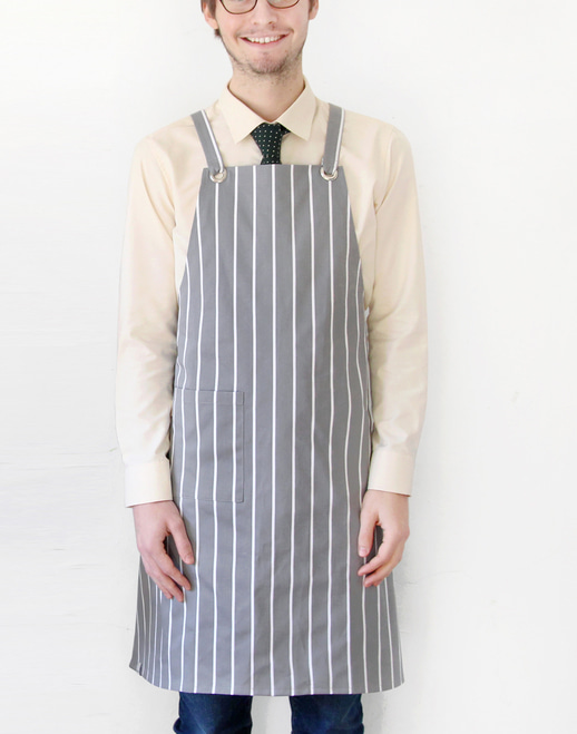 Block Striped Chest Apron Grey #AA1616