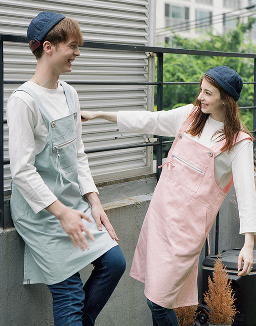 overall zipper poin apron mint #AA1803