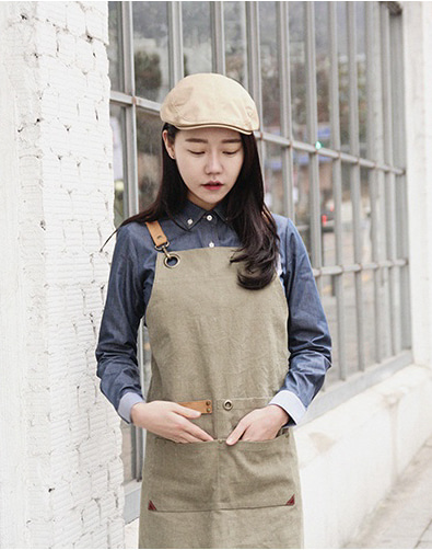 #AA1823 shoelace canvas chest apron khaki